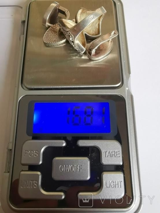 Набор серебряных украшений с камнями Сваровски, фото №3