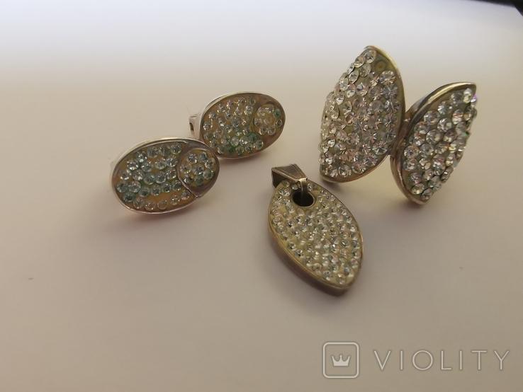 Набор серебряных украшений с камнями Сваровски, фото №5