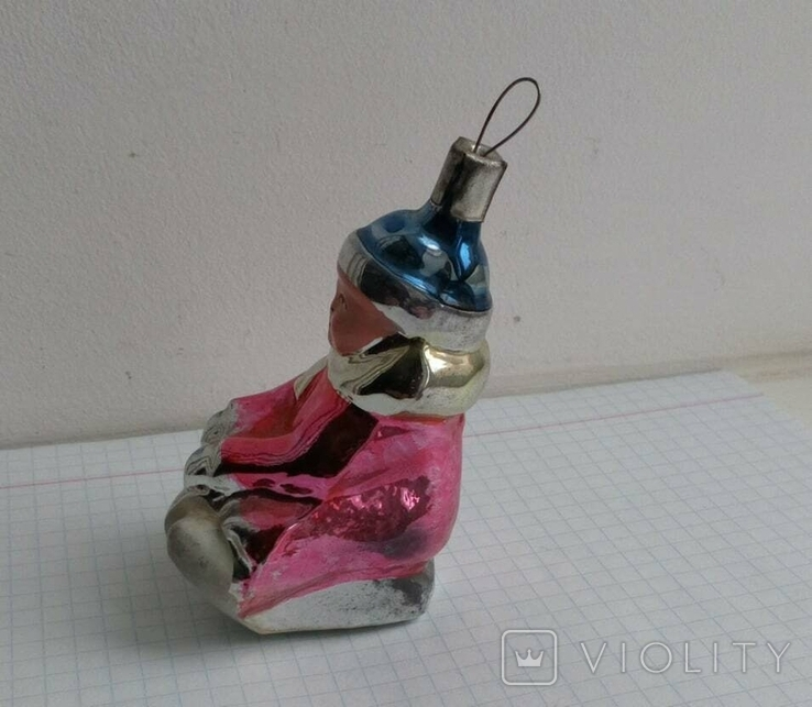 Елочная игрушка Ребенок на санках СССР 1950-ые г., фото №3