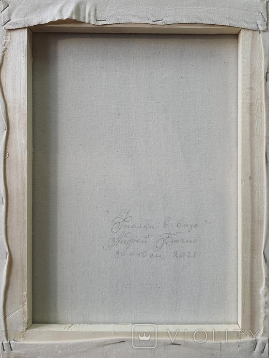 Картина, Фиалки в вазе, 30х40 см. Живопись на холсте, фото №7