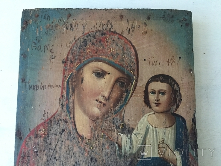 Божья матерь Тихвинская - 23,5х16,7 см., фото №4