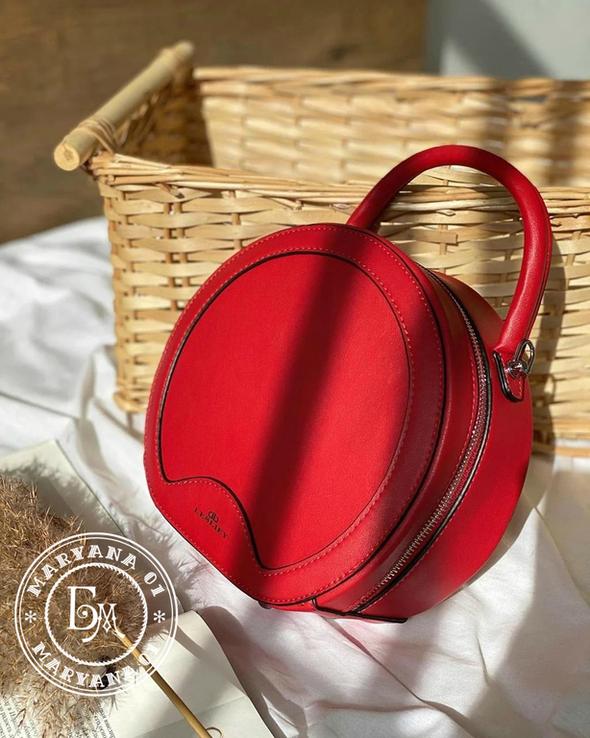 Стильная круглая сумочка-клатч Lesliey red / красный, фото №3