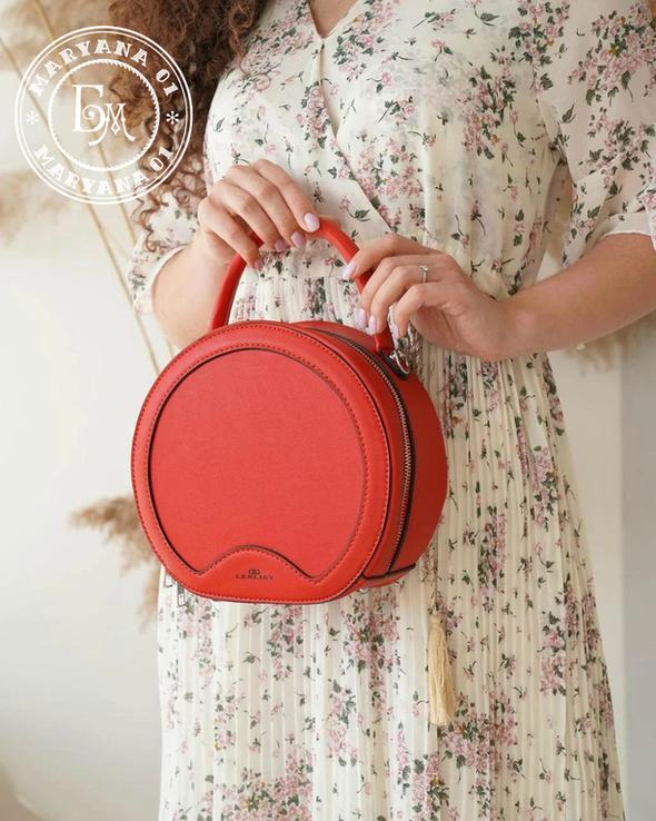 Стильная круглая сумочка-клатч Lesliey red / красный, фото №4