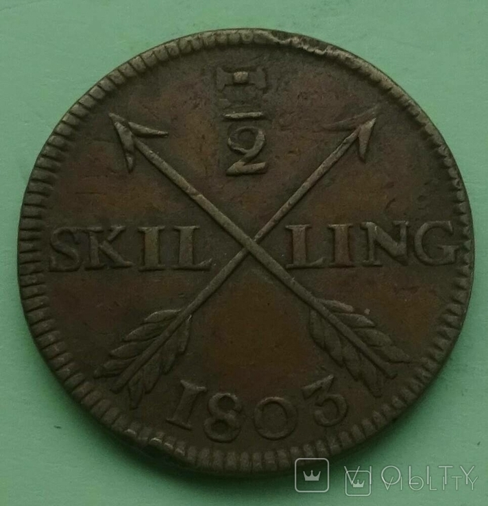 1/2 шилинг. Швеция. 1803 год., фото №4
