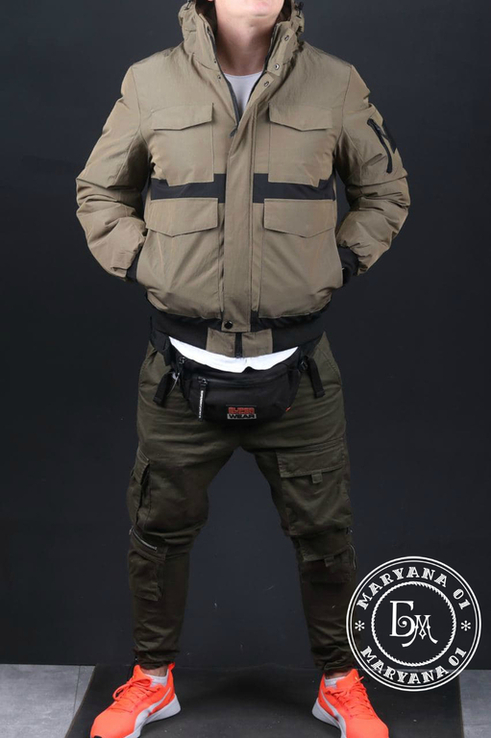 Стильная зимняя куртка размер M / песочный, фото №3