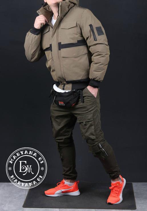Стильная зимняя куртка размер M / песочный, фото №4
