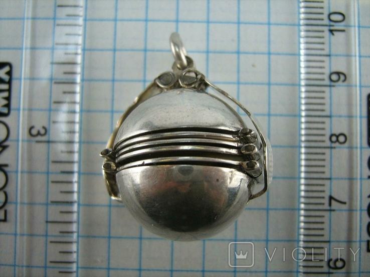 Серебряный Кулон Подвеска Локет Открывающийся для Фото Шар Сфера 925 проба 869, фото №5