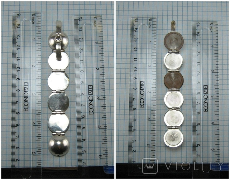 Серебряный Кулон Подвеска Локет Открывающийся для Фото Шар Сфера 925 проба 869, фото №10