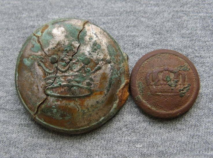 Пуговицы. Корона большая и малая ( лот 6 )., фото №2