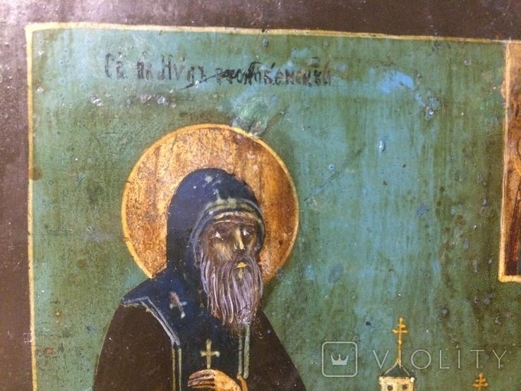 Икона Преподобный Нил Столобенский с видом Богоявленского монастыря (14х18 см.), фото №3