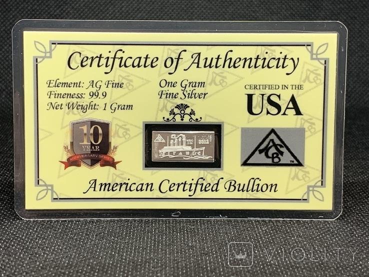 Слиток серебра 999 пробы Титаник 2012 производство США USA 1g, фото №2