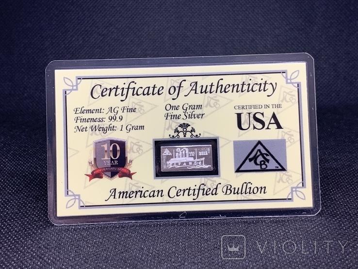 Слиток серебра 999 пробы Титаник 2012 с сертификатом подлинности 1g, фото №2