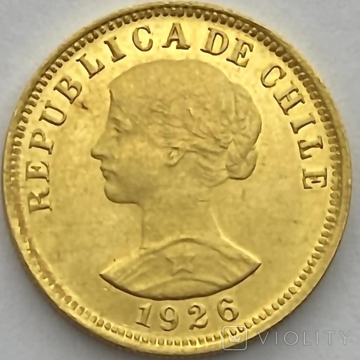 50 песо. 1926. Чили (золото 900, вес 10,16 г), фото №2