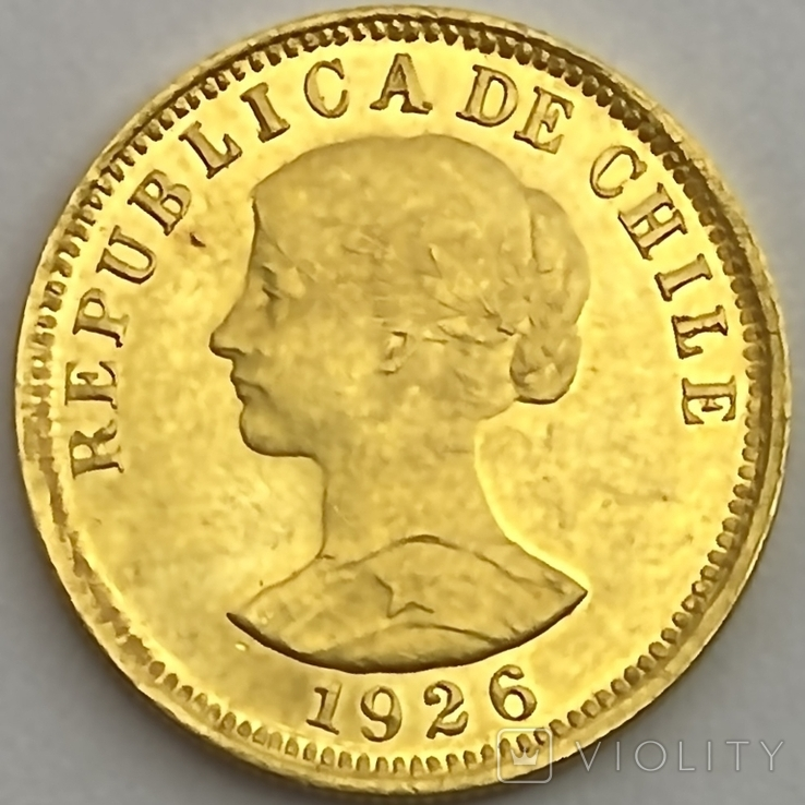 50 песо. 1926. Чили (золото 900, вес 10,16 г), фото №4