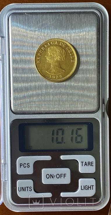 50 песо. 1926. Чили (золото 900, вес 10,16 г), фото №13