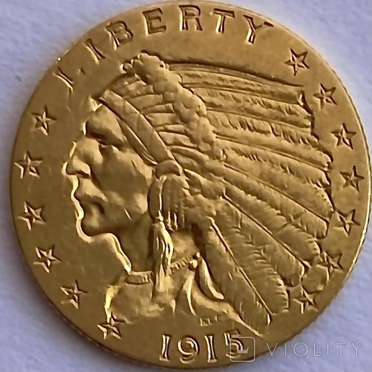 2,5 доллара. 1915. США (золото 900, вес 4,16 г), фото №6