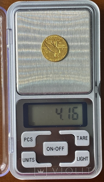 2,5 доллара. 1915. США (золото 900, вес 4,16 г), фото №13