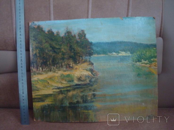 Картина масло пейзаж картон подпись художника 1975г., фото №2