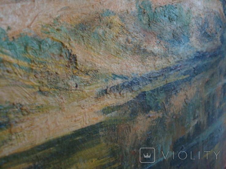 Картина масло пейзаж картон подпись художника 1975г., фото №6