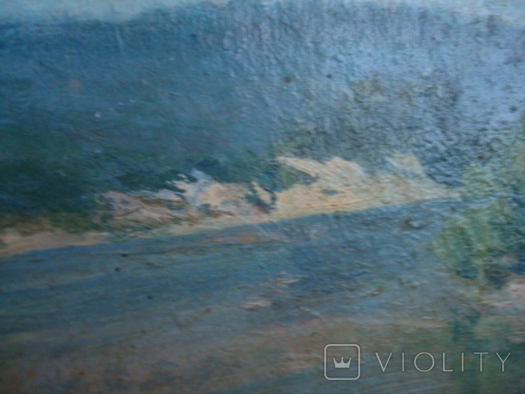 Картина масло пейзаж картон подпись художника 1975г., фото №8