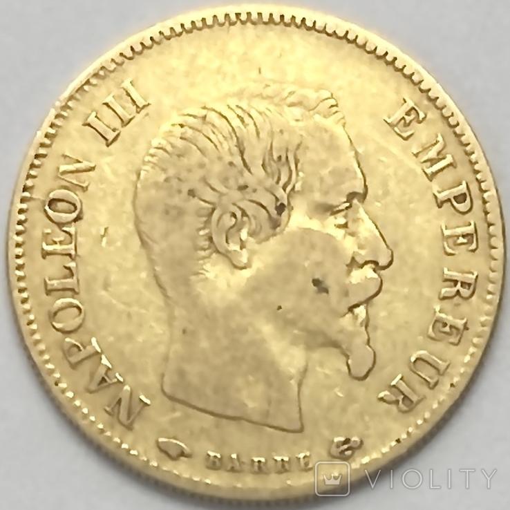 10 франков. 1856. Наполеон III. Франция (золото 900, вес 3,19 г), фото №2