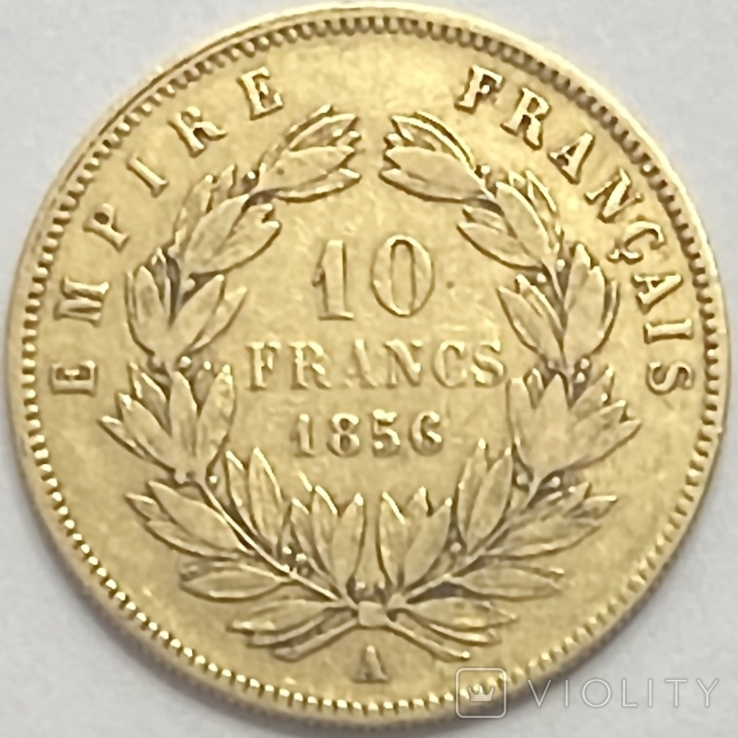 10 франков. 1856. Наполеон III. Франция (золото 900, вес 3,19 г), фото №3
