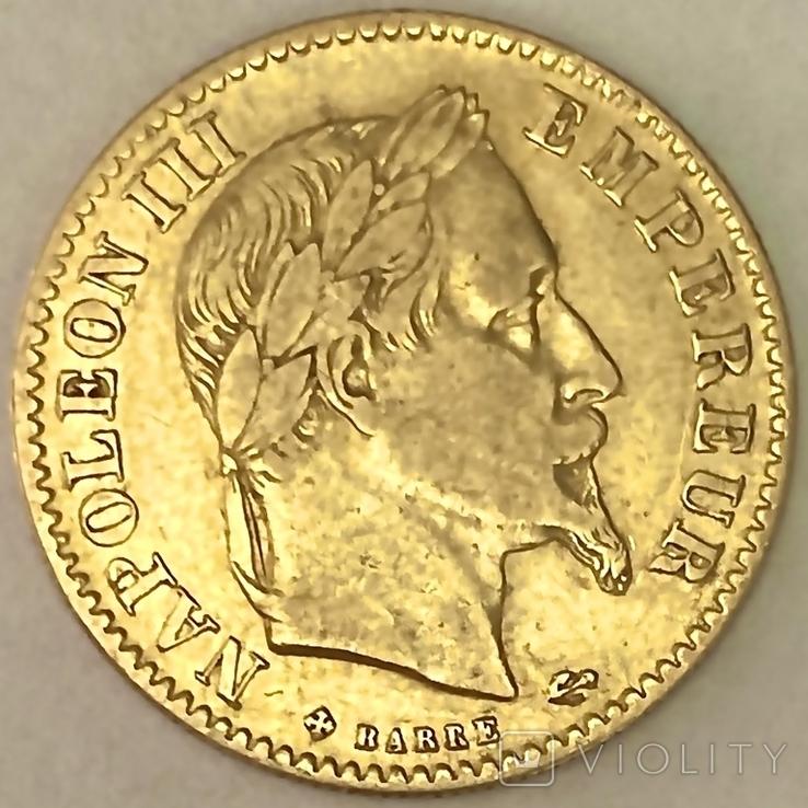 10 франков. 1866. Наполеон III (в венке). Франция (золото 900, вес 3,20 г), фото №4