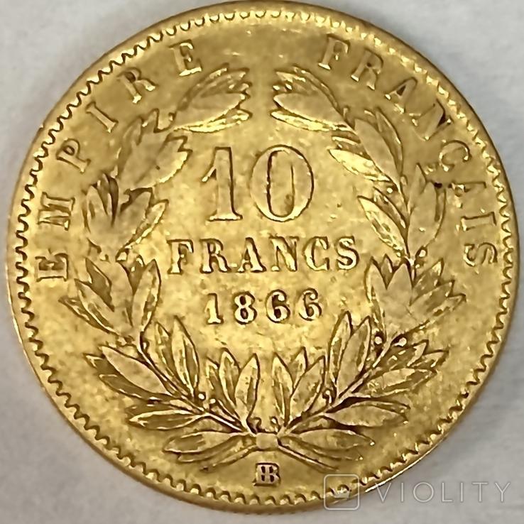 10 франков. 1866. Наполеон III (в венке). Франция (золото 900, вес 3,20 г), фото №5