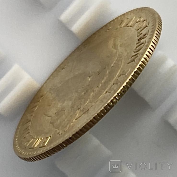 10 франков. 1866. Наполеон III (в венке). Франция (золото 900, вес 3,20 г), фото №6