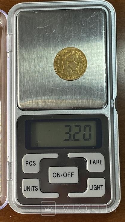 10 франков. 1866. Наполеон III (в венке). Франция (золото 900, вес 3,20 г), фото №10