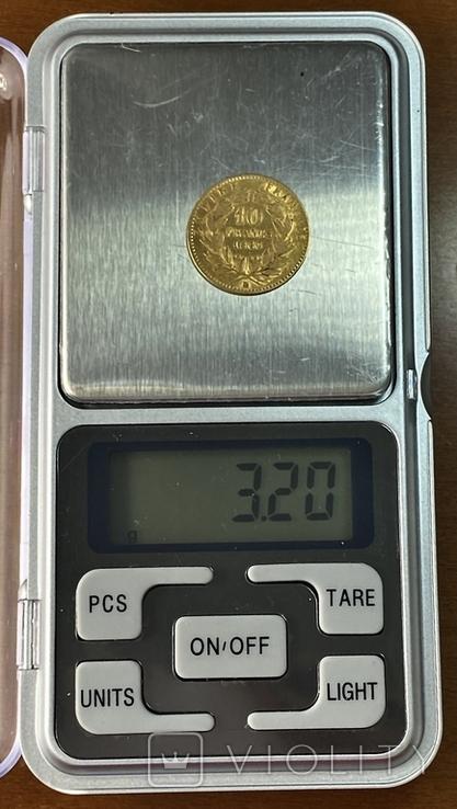 10 франков. 1866. Наполеон III (в венке). Франция (золото 900, вес 3,20 г), фото №11