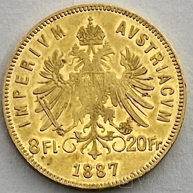 8 флоринов 20 франков. 1887. Франц Иосиф I. Австро-Венгрия (золото 900, вес 6,45 г), фото №9