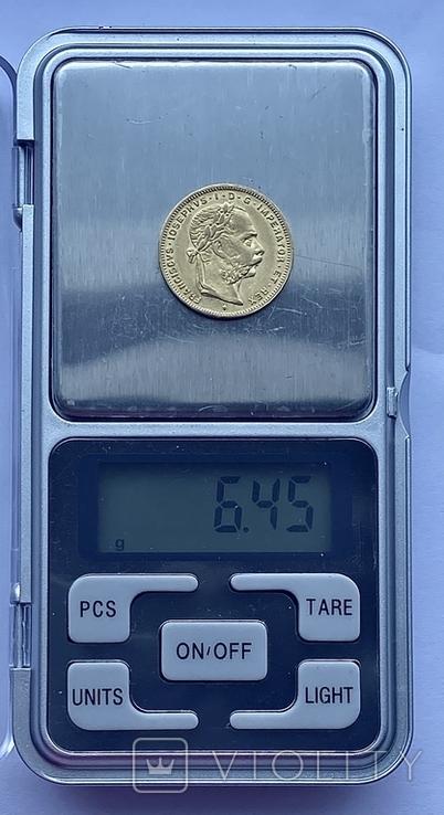 8 флоринов 20 франков. 1887. Франц Иосиф I. Австро-Венгрия (золото 900, вес 6,45 г), фото №12