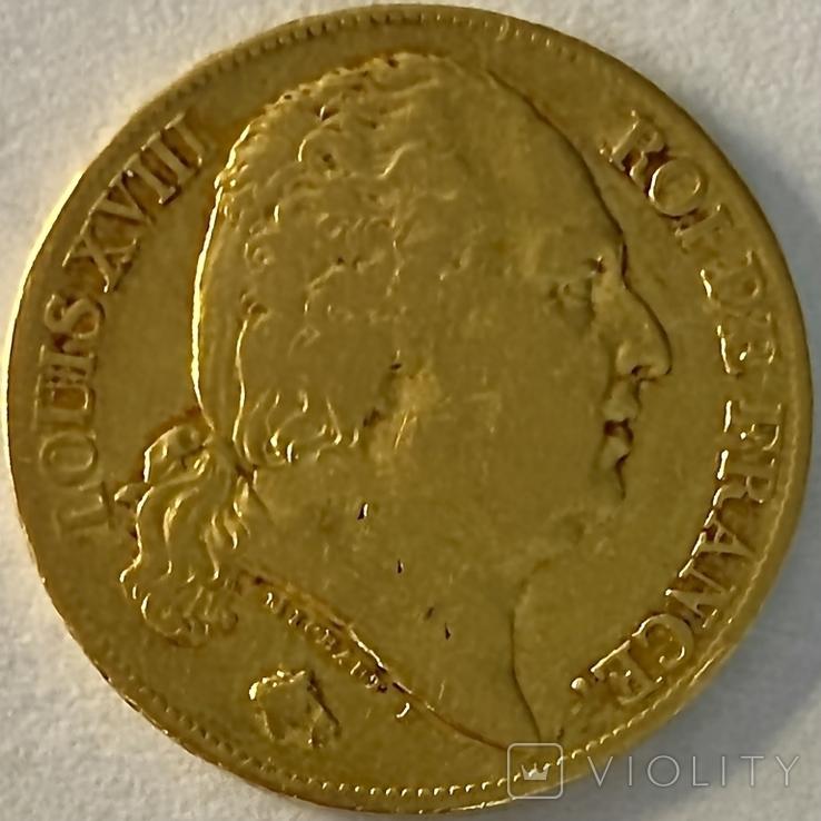 20 франков. 1818. Луи XVIII. Франция (золото 900, вес 6,38 г), фото №10