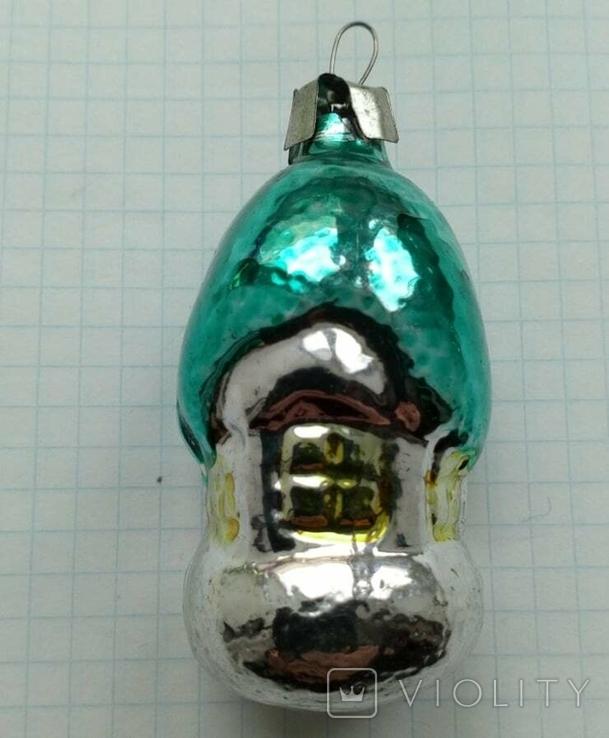 Елочная игрушка Домик- грибок с зеленой крышей СССР 6см, фото №2