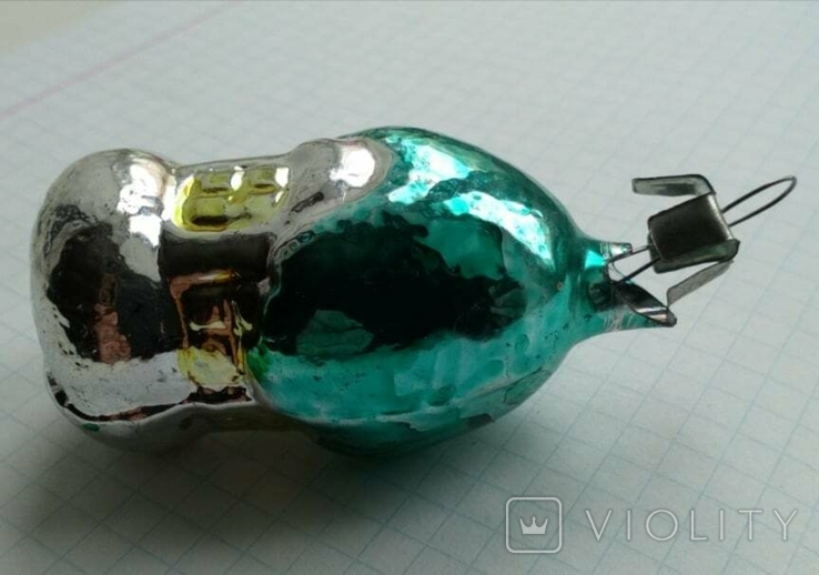 Елочная игрушка Домик- грибок с зеленой крышей СССР 6см, фото №8