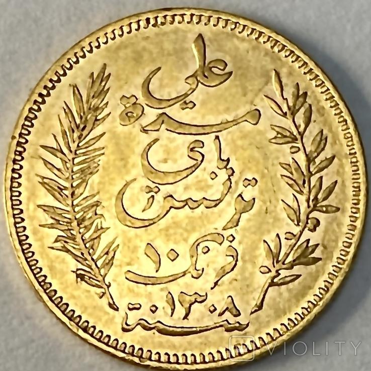 10 франков. 1891. Тунис. (золото 900, вес 3,20 г), фото №10
