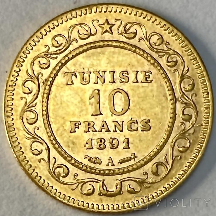 10 франков. 1891. Тунис. (золото 900, вес 3,20 г), фото №11
