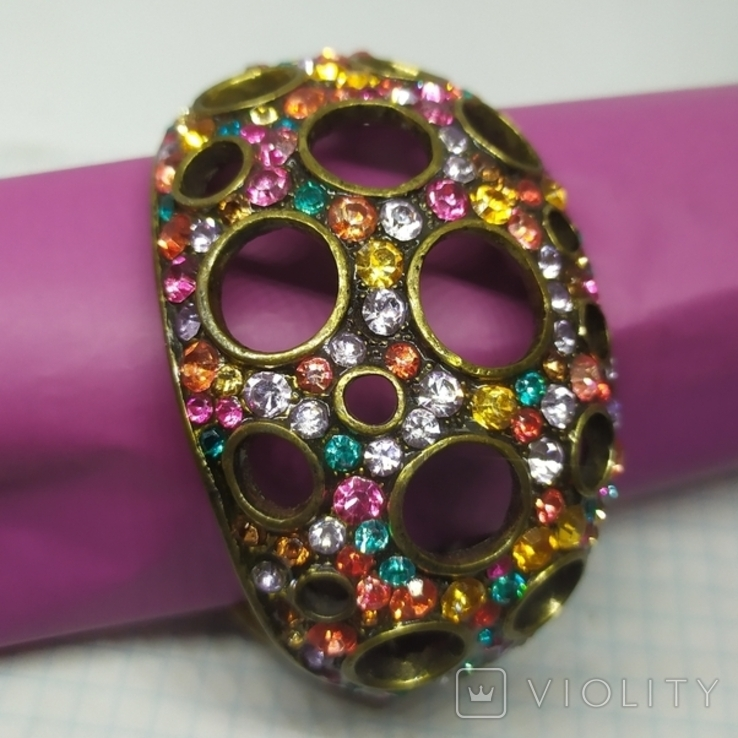 Широкий разжимной браслет с камнями. (3), фото №2