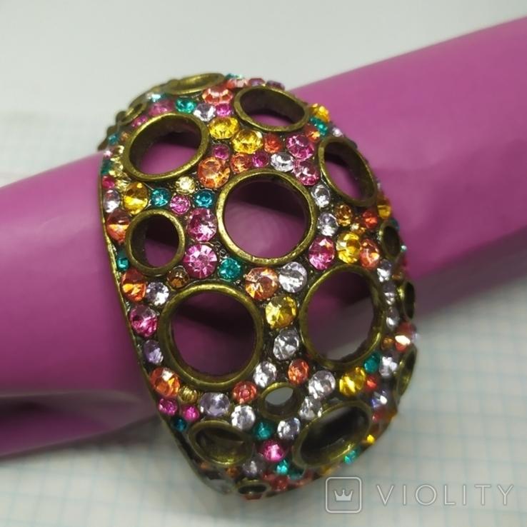 Широкий разжимной браслет с камнями. (3), фото №3