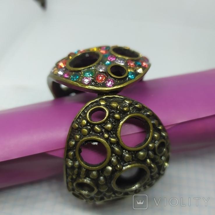 Широкий разжимной браслет с камнями. (3), фото №7