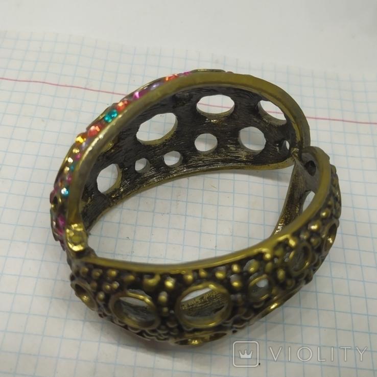 Широкий разжимной браслет с камнями. (3), фото №10