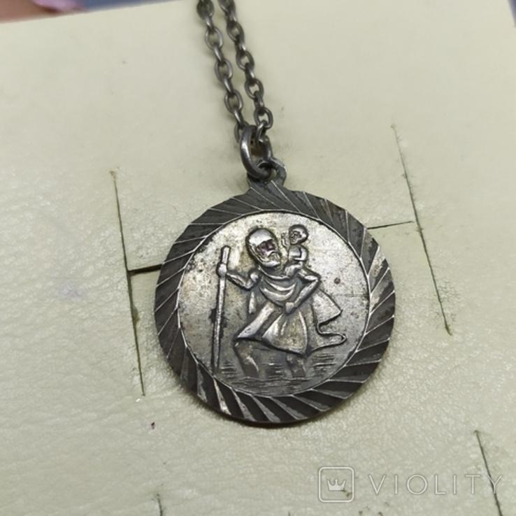 Медальон на цепочке. Диаметр 20мм. Серебро, фото №2