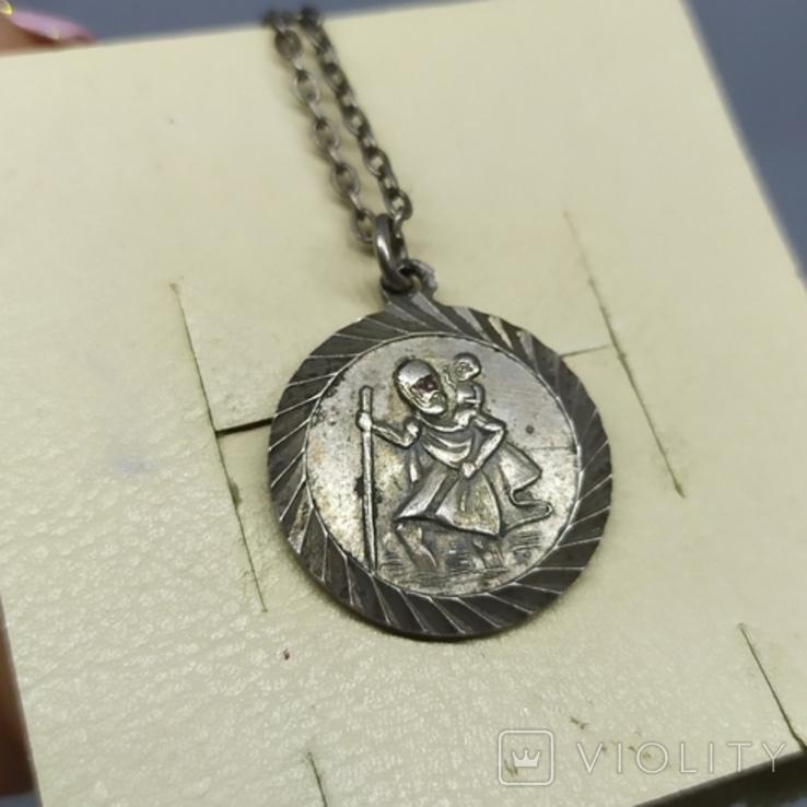 Медальон на цепочке. Диаметр 20мм. Серебро, фото №4