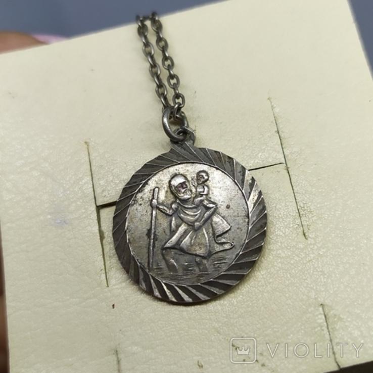 Медальон на цепочке. Диаметр 20мм. Серебро, фото №6