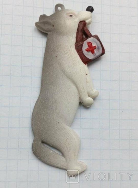 Елочная игрушка Волк медбрат СССР Колкий пластик 8.5см, фото №3