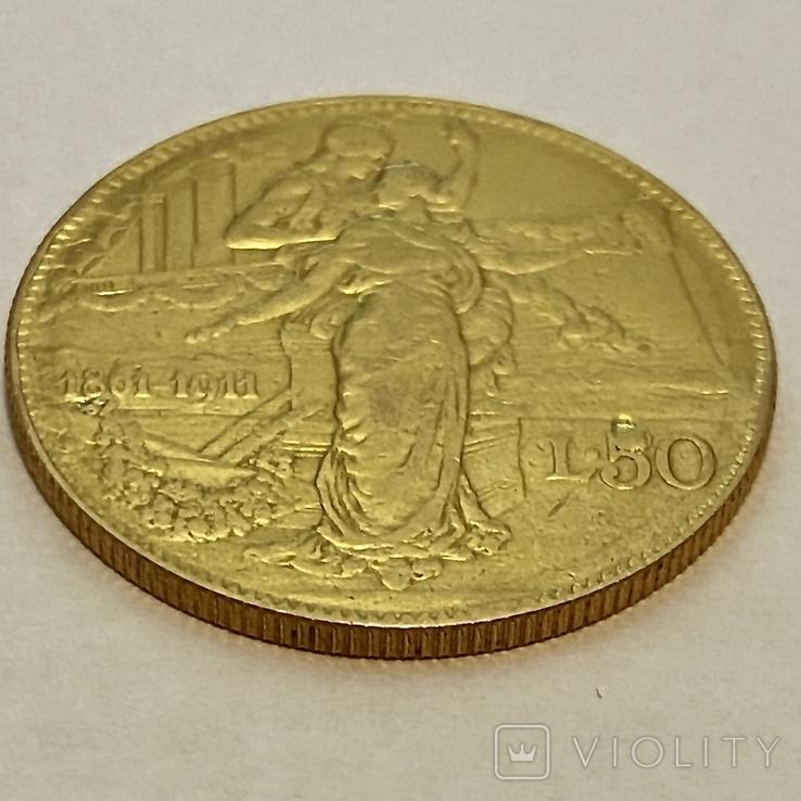 """50 лир. 1911. """"50 лет Королевству"""" Италия (R) (золото 900, вес 15,66 г), фото №10"""
