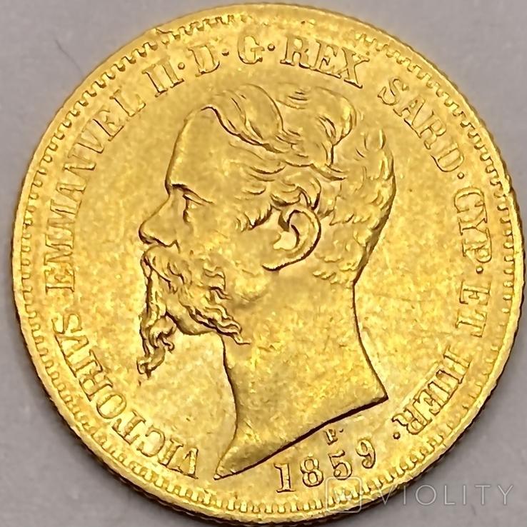20 лир. 1859. Сардиния. (золото 900, вес 6,45 г), фото №2