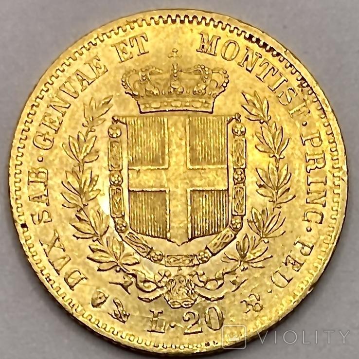 20 лир. 1859. Сардиния. (золото 900, вес 6,45 г), фото №11