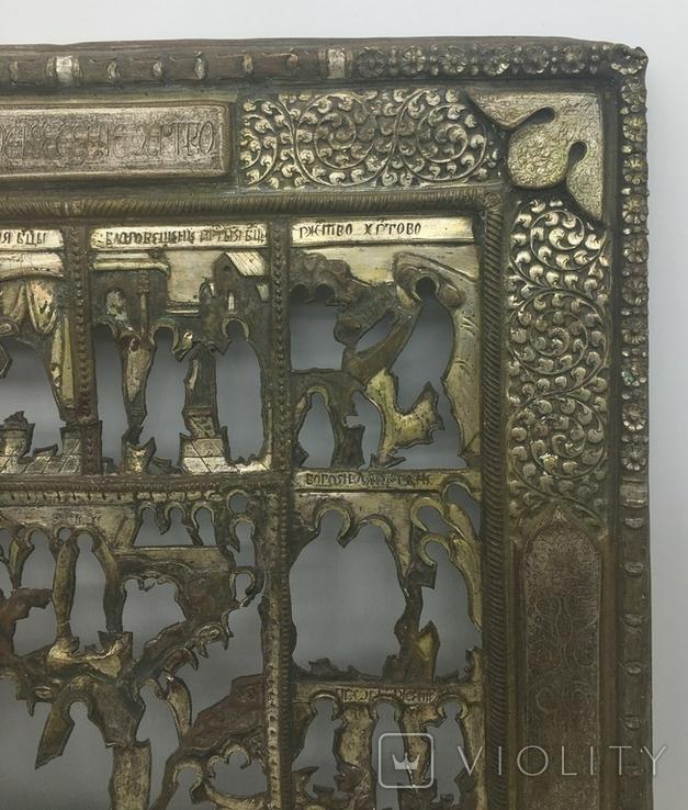 """Посеребрёный оклад на икону """"Двунадесятые Праздники"""", Середина 19 века, фото №7"""
